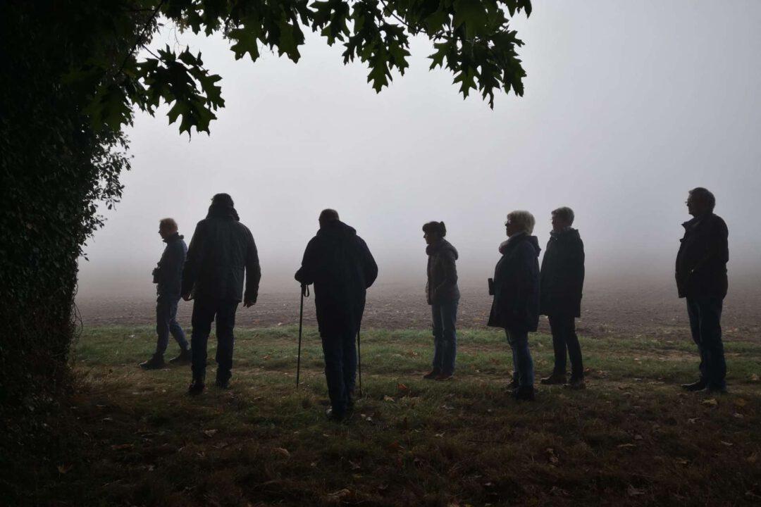 Vogelkundlicher Rundgang Teilnehmer im Nebel